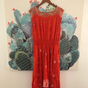 Anthropologie FLOREAL embroidered hi-lo dress
